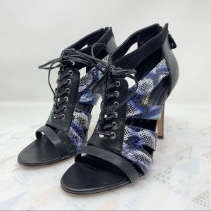 Rebecca Minkoff Reed Snake Print heels lace up